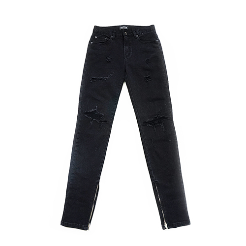 [오버도스] DESTROYED ZIP BLACK DENIM JEANS 데님 진