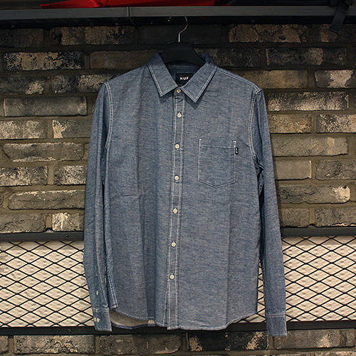 [허프] COURSE L/S CHAMBRAY SHIRT (BLUE) - HFA17BU00001BLU [허프 HUF 셔츠/긴팔티]