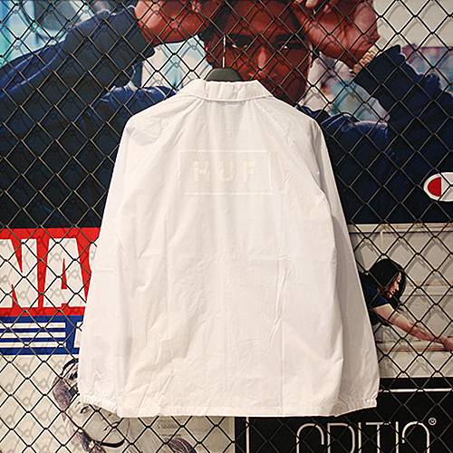 BAR LOGO COACHS JACKET (WHITE) - HFA17JK010WH [허프 HUF 자켓]
