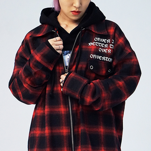 [15%쿠폰] OVDS 1-POCKET ZIP UP SHIRTS (RED) 집업 체크 셔츠