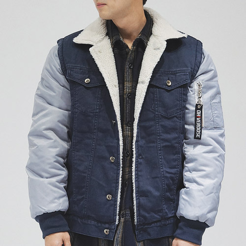 [오버도스] 셰르파 자켓 WASHED COTTON SHERPA JACKET (NAVY)