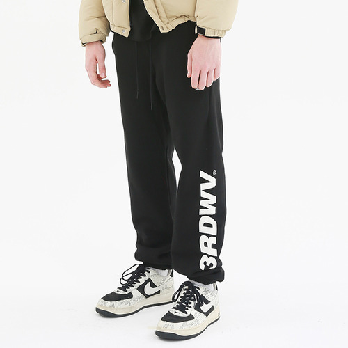 [써드위브] OBLIQUE LOGO SWEAT PANTS / BLACK
