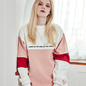 [10%쿠폰] crump sequence sweat shirt(CT0061-1) - white-pink