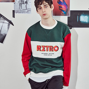 [10%쿠폰] crump retro sweat shirt(CT0063-3) - green_red