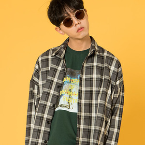 TARTAN CHECK PATTERN SHIRTS [GRAY]
