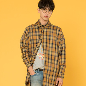 TARTAN CHECK PATTERN SHIRTS [BROWN]
