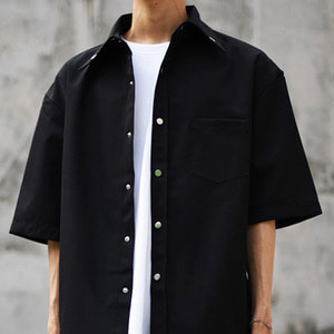 EYELET JACKET SHIRT - black