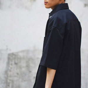 EYELET JACKET SHIRT - navy