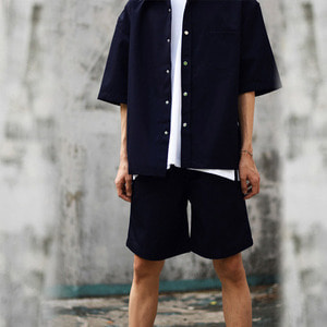BAND SHORT PANTS - navy